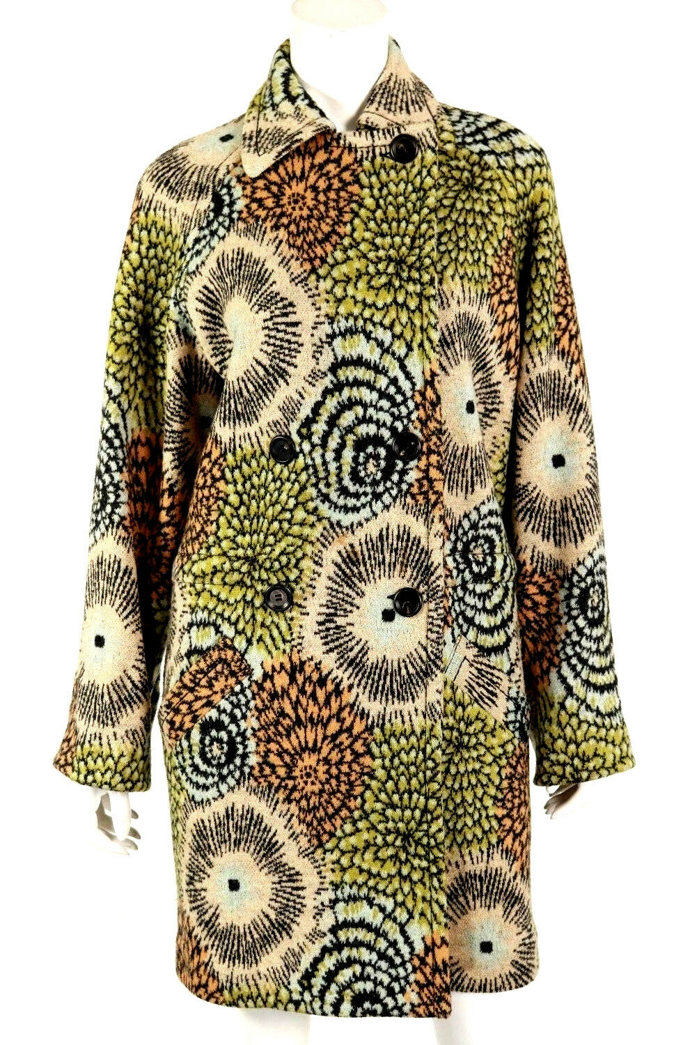 MISSONI Multi-color Floral Print Wool Blend Knit Double-Breasted Coat S
