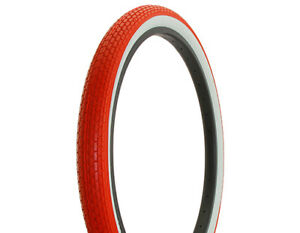 Duro-Heavy-Duty-Red-White-Wall-Bicycle-Tire-26-034-x-2-125-034-Small-Brick-Style