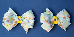 EASTER-BUNNY-BLUE-Set-of-2-Pigtails-Handmade-Hair-Bows-with-Non-Slip-Clips