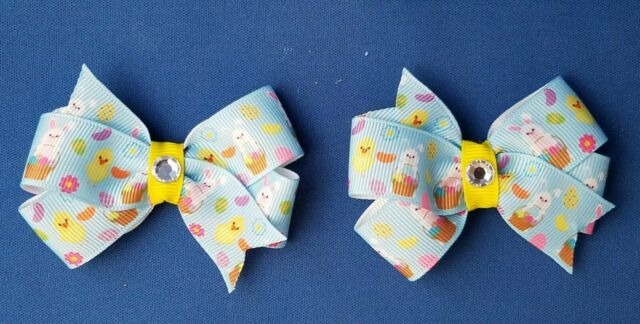 EASTER BUNNY BLUE Set of 2 Pigtails Handmade Hair Bows with Non Slip Clips