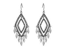 NWT Lucky Brand Modern Shine Double Diamond Silvertone Pave Chandelier Earrings