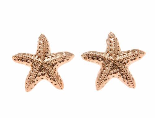 ROSE GOLD PLATED SILVER 925 HAWAIIAN SEA STARFISH STUD POST EARRINGS 15MM