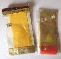 Vintage Collectors 1960's Martin Emprex Stretch Tights/knee Socks 2x Yellow Bnip
