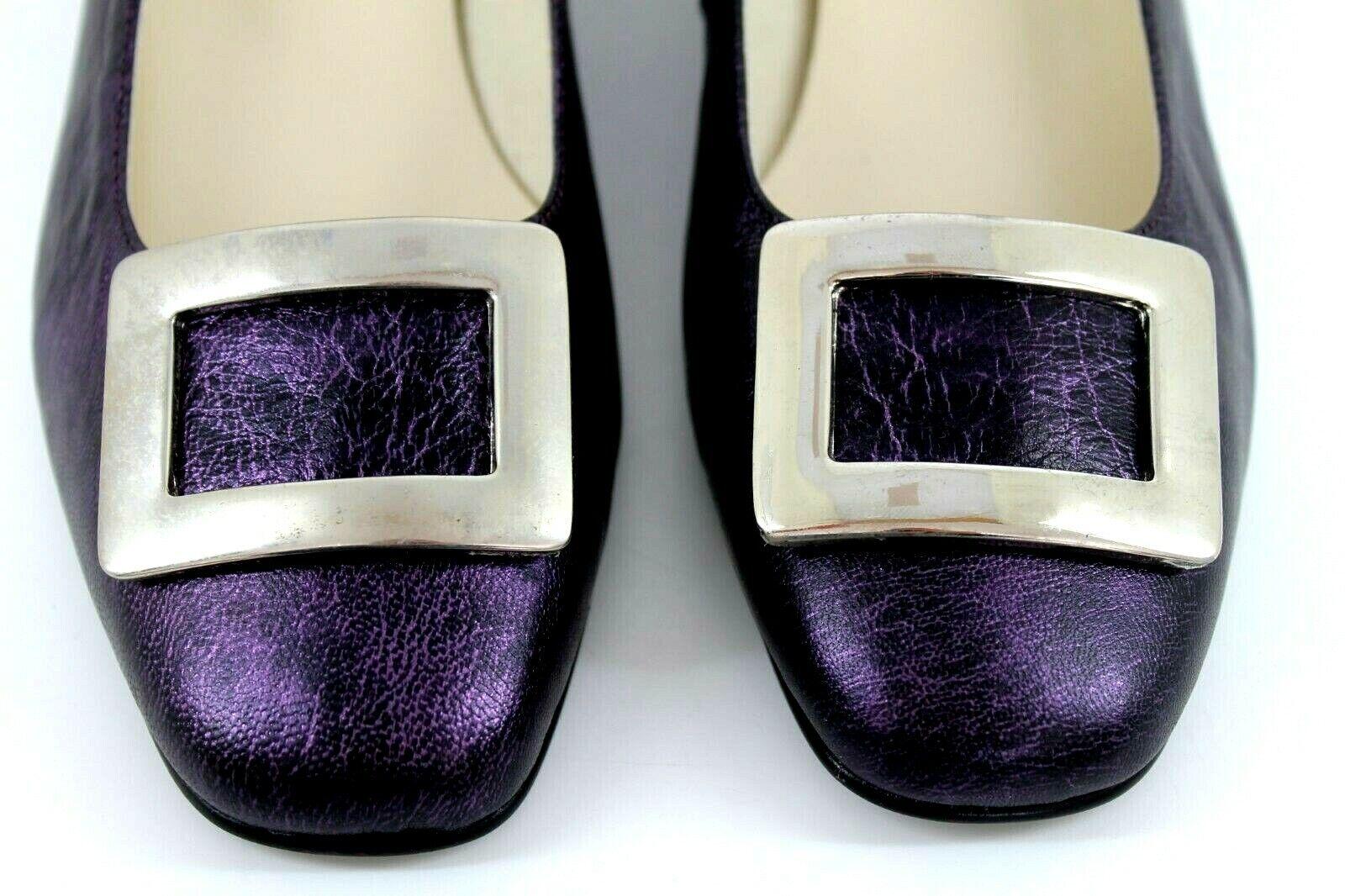 "Artigiano damen EU 41 UK 8 lila Leather Silber Silber Silber Décor 1.25"" Block Heel schuhe 6c21e0"