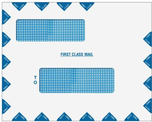 """Double Window First Class Tax Mail Envelope Peel /& Close 9.5 x 12/"""" 80783PS"""
