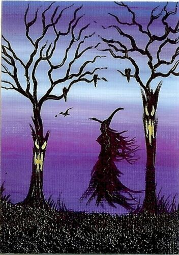 ACEO GLOSSY PRINT Spooky Forest Fun Collectible Witch Ravens Art Print HYMES