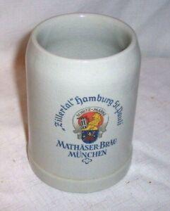 VINTAGE 0.5 LITRE ZILLERTAL HAMBURG ST. PAULI MATHASER BRAU MUNCHEN BEER MUG