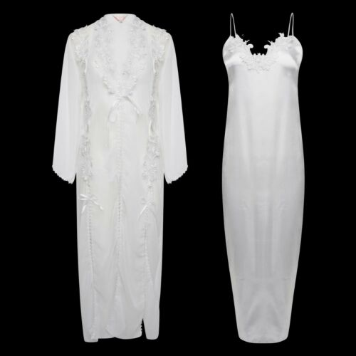 CHIFFON /& SATIN EMBROIDERED GOWN /& ADJUSTABLE STRAP NIGHTDRESS FULL LENGTH