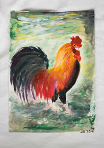 Acrylic-painting-Colourful-Rooster