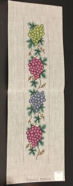 Grapes Vines Leaves Vertical Hand Painted Needlepoint Canvas Rosalie M8P50 $42