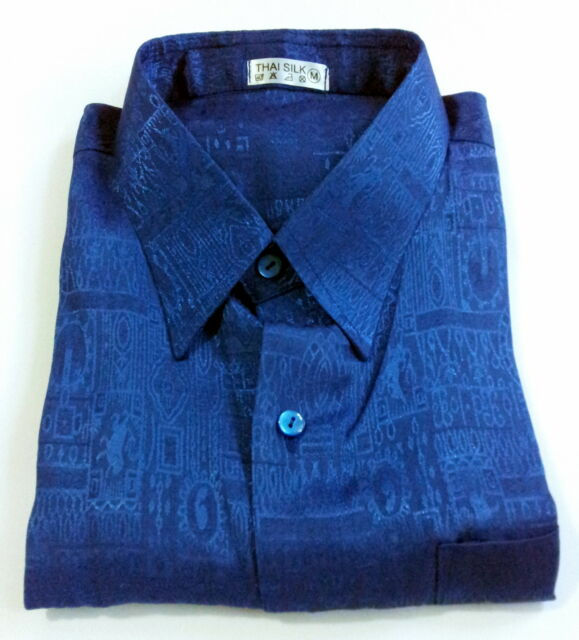 Mens Blue Jacquard Weave Thai Silk Shirt / Short - Long Sleeve / Small-XXXL