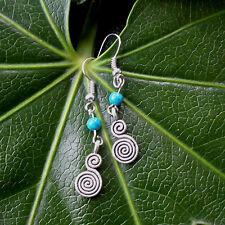 Vintage Antique Silver Spiral Turquoise Beads Drop/Dangle Hook Earrings Handmade