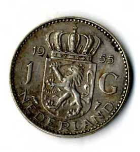 Moneda-Holanda-1955-1-Florin-Juliana-plata-0-720-silver-coin-Nederland