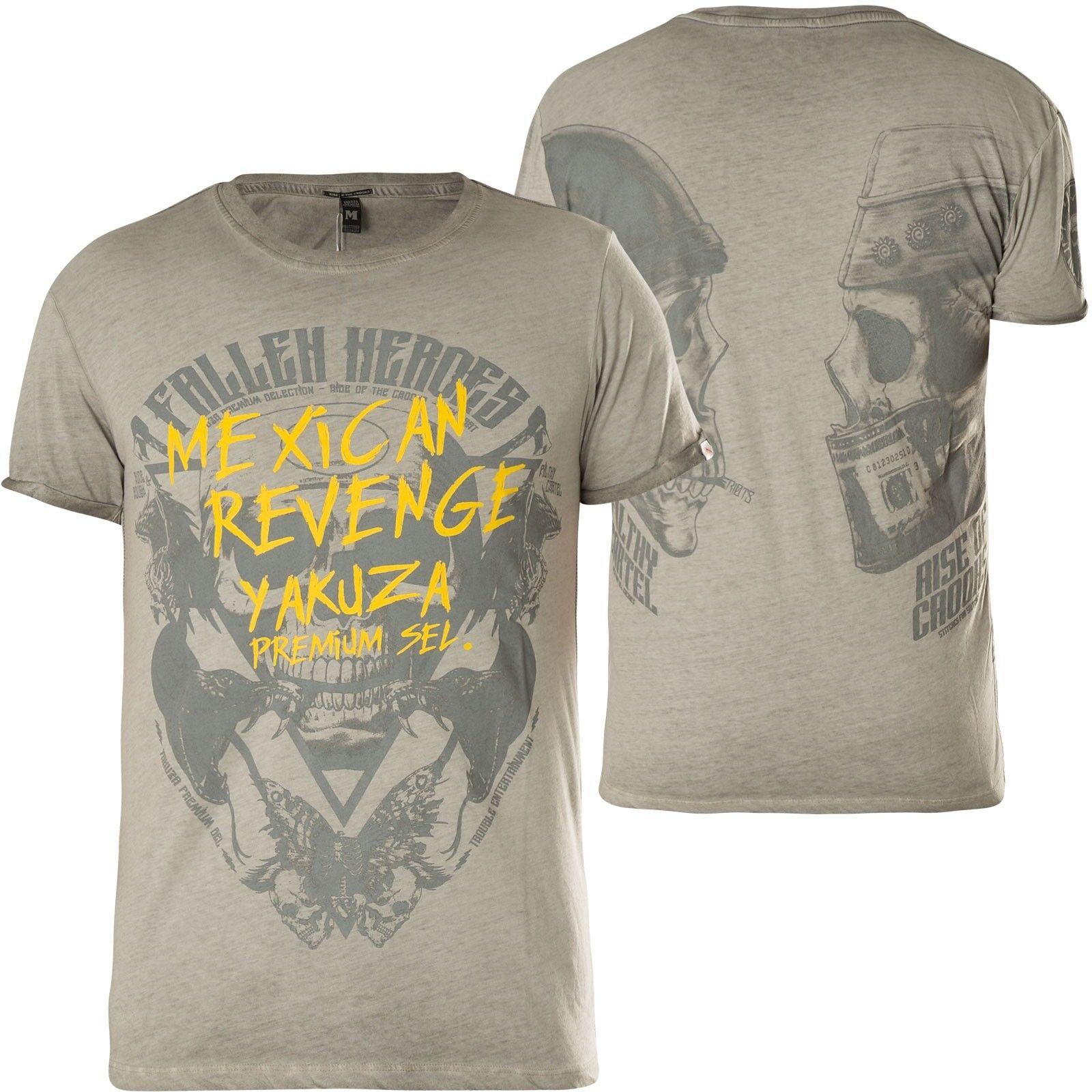 YAKUZA PREMIUM T-Shirt Vin-307 Grau T-Shirts  | Moderater Preis  | eine breite Palette von Produkten  | Lass unsere Waren in die Welt gehen