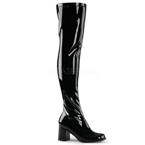 Details about Black Shiny Thigh High Over the Knee 60s 70s Hippie GoGo Boots  Womans size 7 8 9 eba90836a3