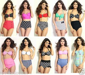 ba73dec28f1a3 2015 NEW Vintage Swimwear High Waist Polka dot Bikini 2 Pieces bra ...