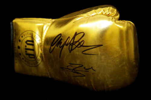 New Conor Benn And Nigel Benn Dual Signed Gold Vip Boxing GloveRare