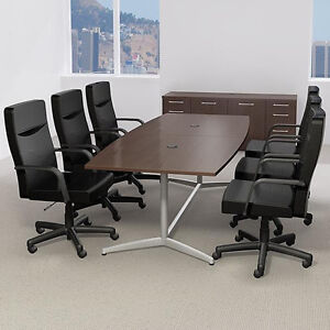Ft MODERN CONFERENCE TABLE AND CHAIRS SET With Metal Base - 8 foot conference table and chairs