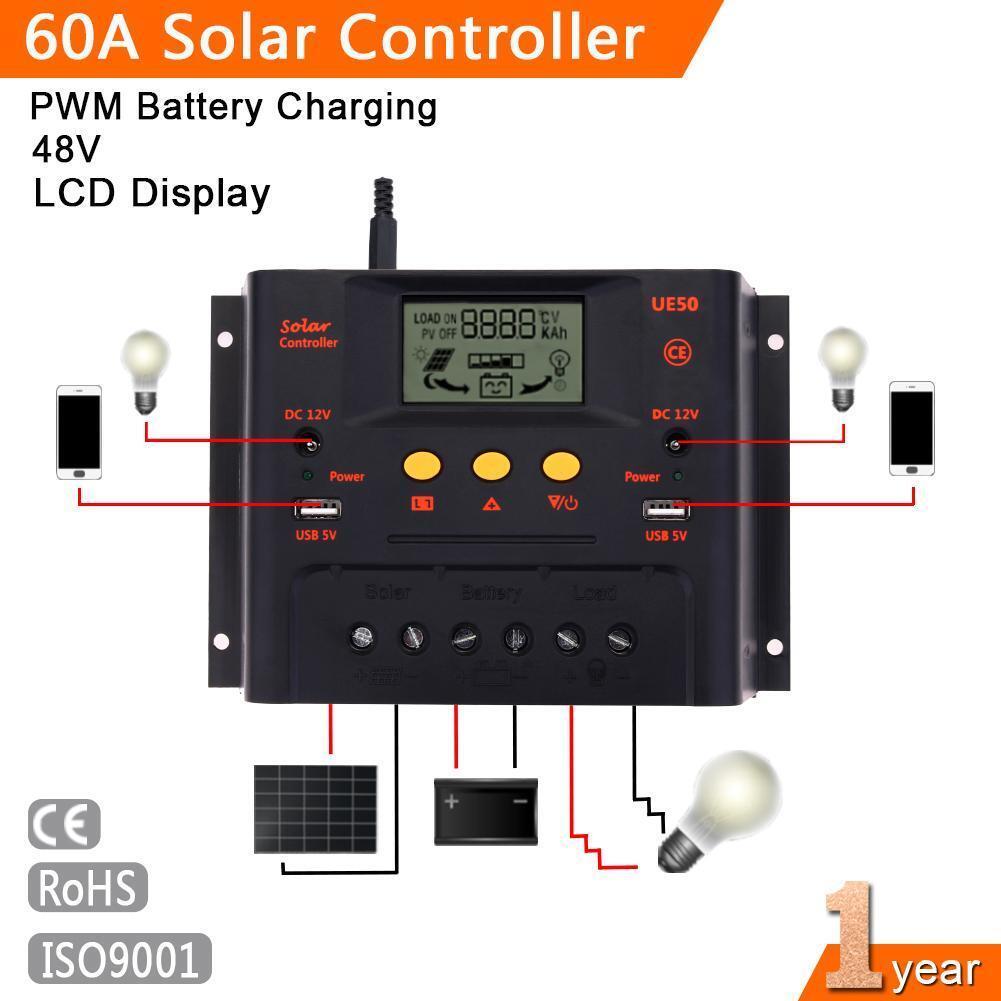 30A 50A 60A 60A 60A 12V/24V/48V Solar Laderegler Solarregler mit USB und LCD Display PW 85e169