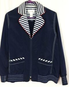 Jacket Træk Lynlås Størrelse Nautical Damons Drapers Striped Anker Trim Petites Pm 8qOHtCw