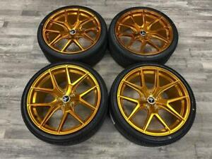 Polished Gold Staggered Wheels and Tires  MERCEDES C and E Class Calgary Alberta Preview