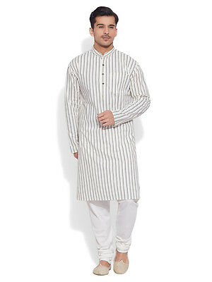 Very Me Men's Cotton Long Ivory Kurta (MCLK1028)