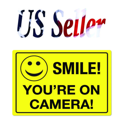 2 pack Smile You/'re On Camera Security Sign Sticker  9inch x6inch