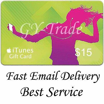 Apple iTunes $15 US Gift Card Karte Code Voucher Certificate USA USD SUPER FAST