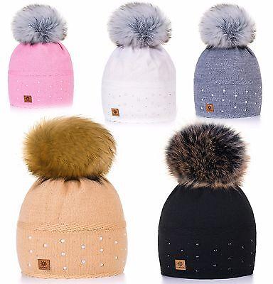 Cappello  donna  Berretto Fur Pop Pom Chunky