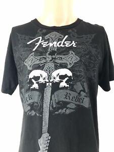 Black-Vintage-Fender-Stratocaster-T-Shirt-Size-Small-Guitar-Rocker