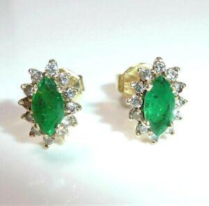 Ohrringe Ohrstecker 585 Gold 0,50 ct. Diamanten 0,60 ct Smaragde 10,5 x 7,5 mm