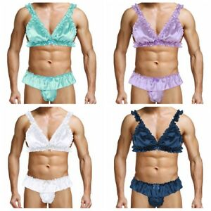 fb35ddd4c72b Men's Lingerie Set Satin Bra Tops Sissy Pouch Panties Bikini ...