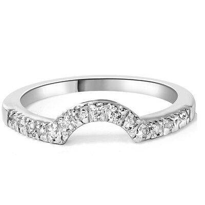 1/4ct Curved Diamond Notched Wedding Ring Enhancer 14K