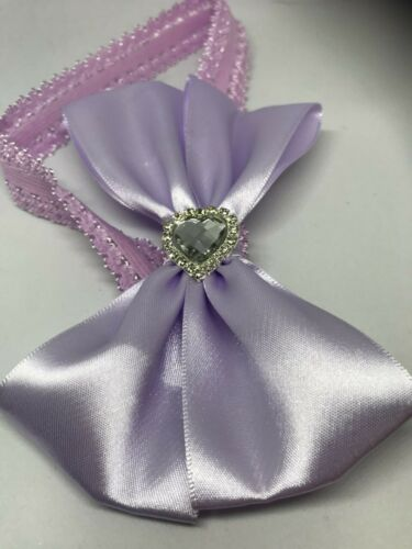 6 month 16cm. baby stretch lace headband with a satin lilac bow /& a bling heart