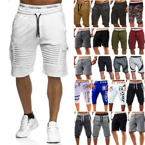 Mens-Cargo-Shorts-Pants-Casual-Summer-Beach-Sport-Gym-Trousers-Plain-Elastic-US