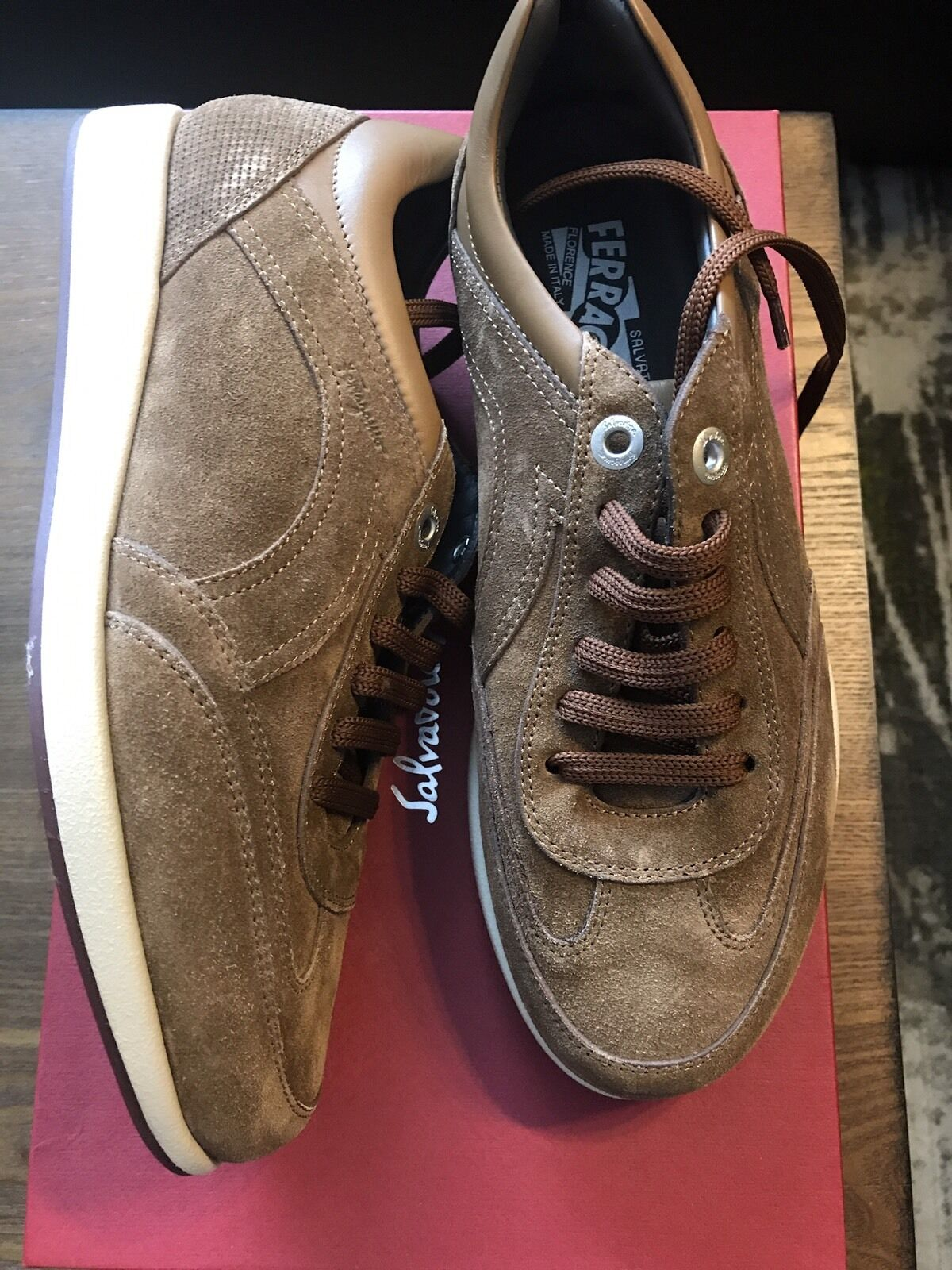 New Authentic Salvatore Ferragamo Hare Brown Suede Lace Men Shoe Sneakers 6 540