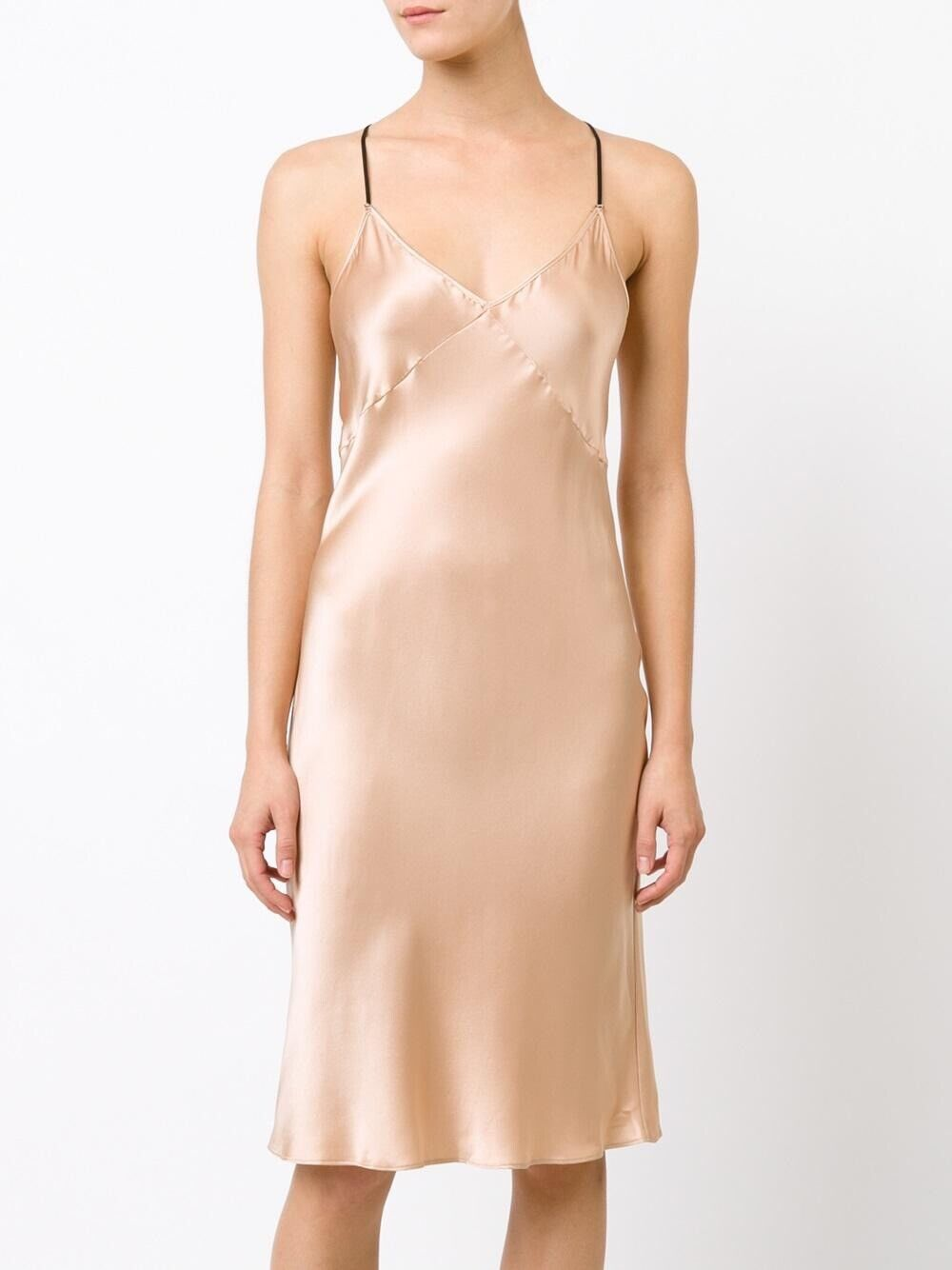 Fleur Du Mal Silk Nude T Strap glida Dress NWT SZ XS Ret  500