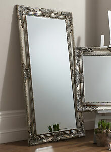 Hampshire Large Silver Full Length Decorative Leaner Wall Floor Mirror 170x84cm