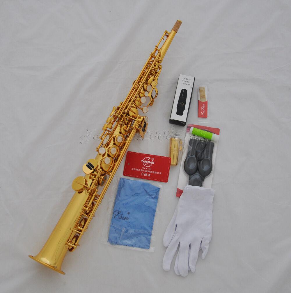 Profesional incorporado en oro oro oro en cuello Taishan saxofón soprano BB Sax Con Estuche  mejor opcion