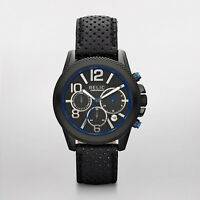 Relic By Fossil Men's Blue Watch BlackLeather Band Chronograph Face ZR66056 NIB