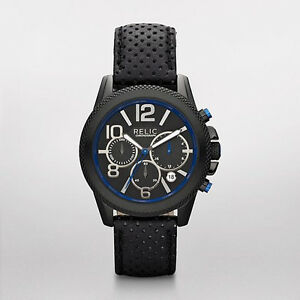 fdbe96716c2f Relic by Fossil Men s Leather Band Watch Chronograph Black n Blue ZR ...