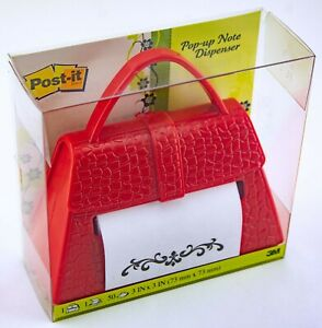"""3M Post-it Red Purse Pop-up 3""""x3"""" Note Dispenser Weighted"""