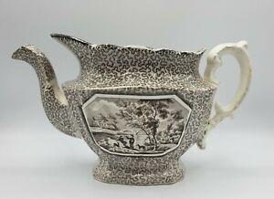 "Antique Adams Staffordshire English Teapot Brown Transferware Soft Paste 11.5"" L"