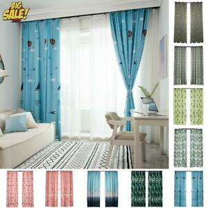 Living Room Curtains Boho Curtain Bedroom Cartoon Printing Window Drapes Decor Ebay