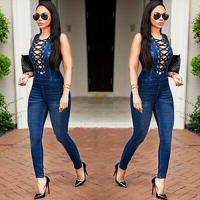 Ladies Sleeveless Denim Jumpsuit Pants Women's Bodycon Playsuit Clubwear Jeans