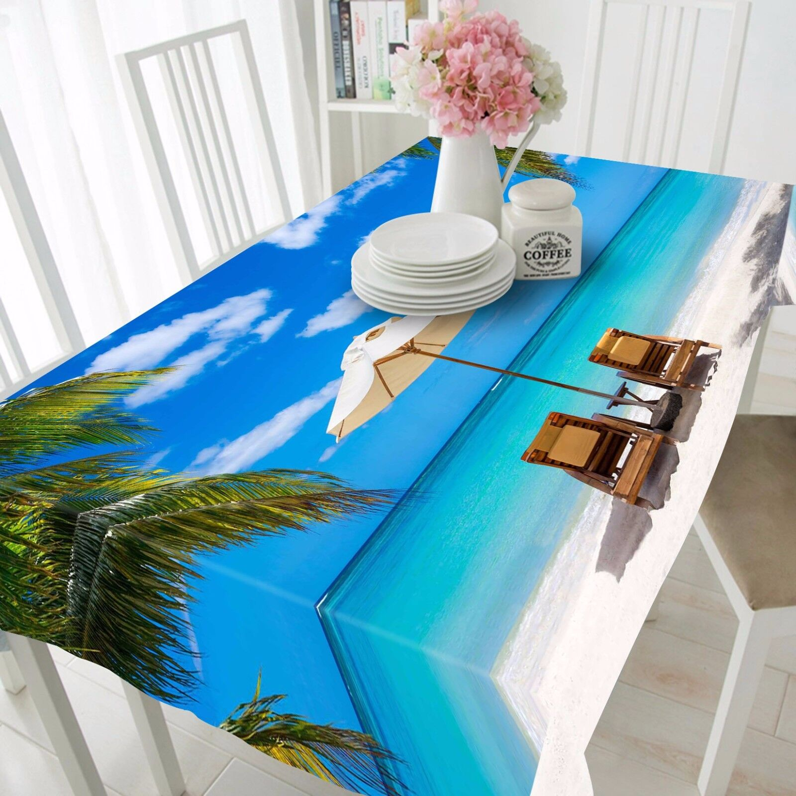 3D Sea Beach Nappe Table Cover Cloth fête d'anniversaire AJ papier peint Royaume-Uni Citron