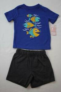 NEW Toddler Boys 2 Piece Set Size 4T Outfit T Shirt Shorts Rocket Space Red Blue