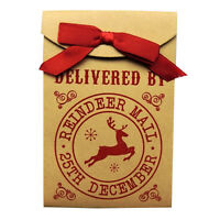 Reindeer Mail Quality Gift Wrap Bag with Ribbon Bow - Size 155mm x 103mm