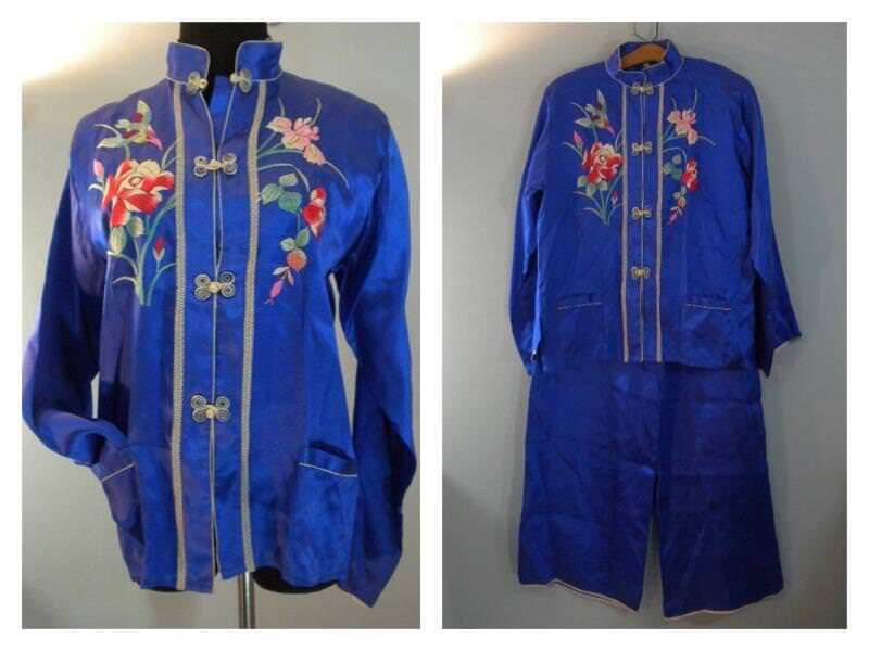 VTG 1930s 1940s Satin Pajamas Evening Wear Hand Embroidery bluee Sz M