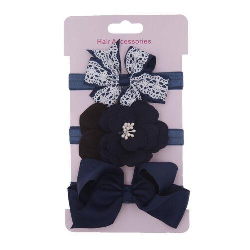 3Stk Mädchen Baby Haarband Stirnband Blumen Schleife Haarschmuck Kopfband Set DE